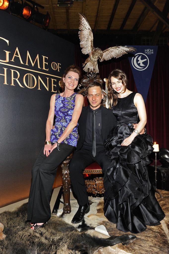 Michelle Fairley, Tom Wlaschiha and Emilia Clarke