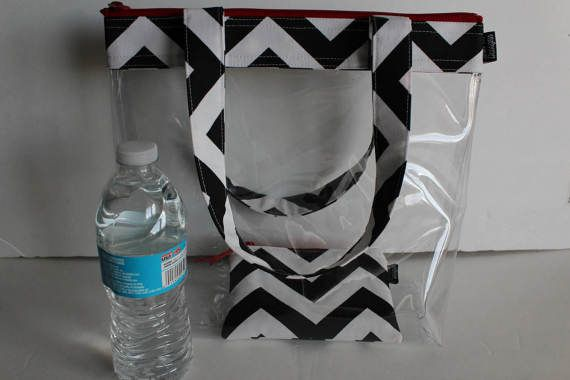 Clear Vinyl Stadium Tote Bag Clear Security Bag by SewProDesigns
