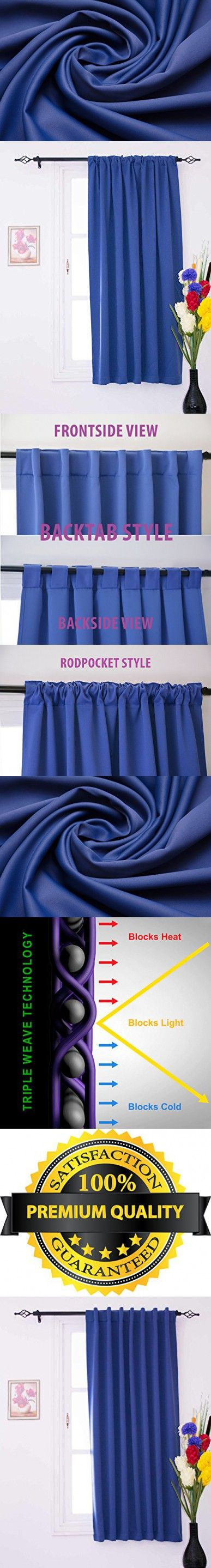 Luxury Homes Premium Quality Thermal Insulated Window Blackout Curtains With Rod Pocket / Back Tab - Single Panel - Free Matching Tieback Worth $4.99 Included (52W x 63L Inch, Navy Blue)