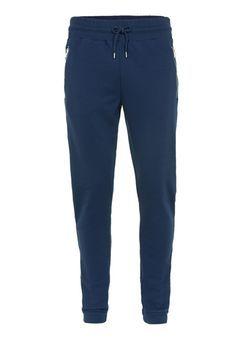 Pantalon de jogging skinny bleu marine zippé avec rayures sur les côtés