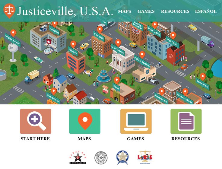 Proud to introduce Justiceville USA, our latest web-based project funded by a generous grant from the Texas Bar Foundation. Available in English and Spanish, the educational and engaging game highlights specific elementary and secondary TEKS in Social Studies. Justiceville USA helps students understand the role of public officials, authority figures, and community helpers, improves map reading skills, and teaches the rights and responsibilities of citizenship.