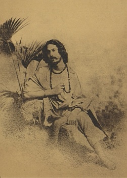 """Tagore as Balmiki in his dance drama """"Balmiki Pratibha"""". He enjoyed directing, and acting in, his plays and did so quite late into his life. During the struggle to put Visva-Bharati on its feet, he went on tours staging performances to raise funds for it."""