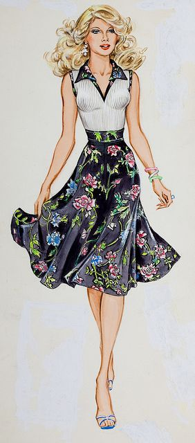 Thornton D #Skidmore #illustration #fashion #spring #floral #Lovely #Street #Style #Dresses #look #pretty #love