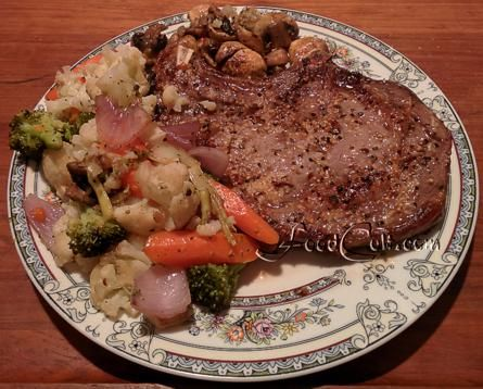 #Steak #dinner without #potatoes? Why not! Seasoned with #MontrealSteakSpice and served with lots of #steamed #vegetables finished in a skillet with a serving of #fried #mushrooms - Free, Easy Recipes @ FoodCult.com #Food Matters!