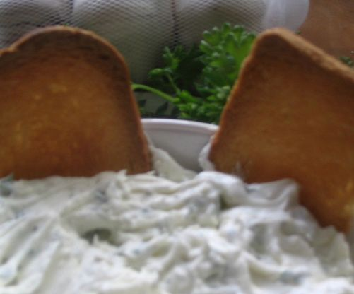 From www.topsecretrecipes.com. Its a copycat version of the Rondele Garlic And Herbs Cheese Spread by Todd Wilbur. Prep time includes storage.