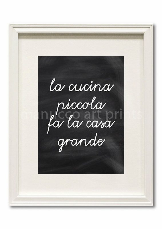 Kitchen Art Print Italian Proverb Quote Cucina by EmcDesignLab, $18.00