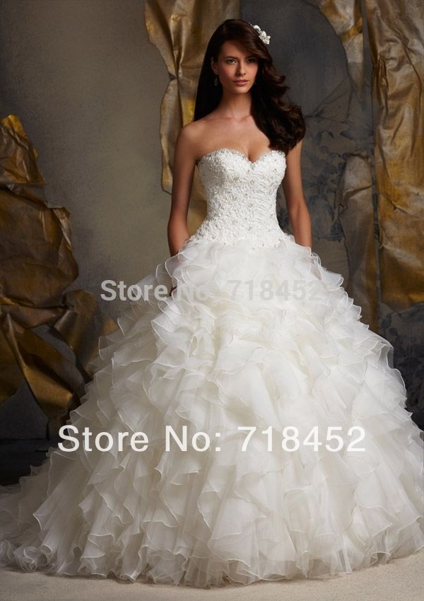>> Click to Buy << Designer 2014 Funky Wedding Dress Ball Gown Top Lace Beaded Vestidos De Novia Organza Ruffles Bridal Gowns Free Shipping NW1284 #Affiliate