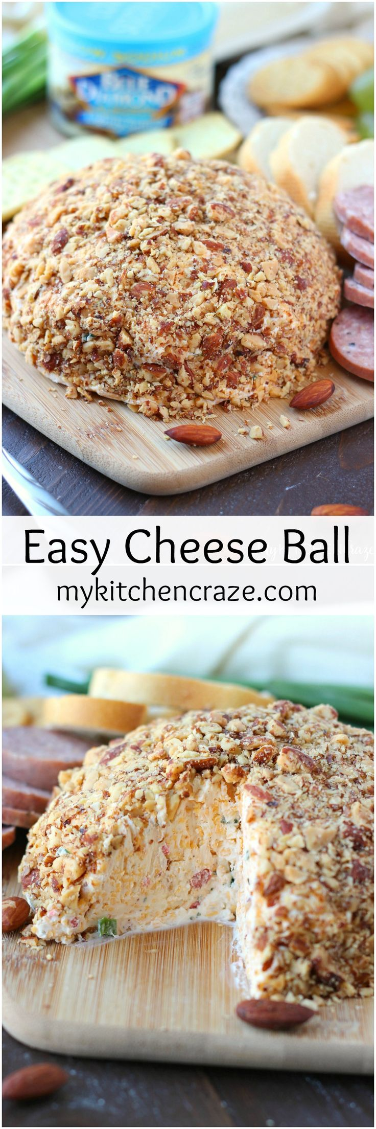 Easy Cheese Ball ~ mykitchencraze.com ~ A delicious Cheese Ball made with cream cheese, cheddar cheese, chives, bacon bits and garlic. This Easy Cheese Ball is a must make for your next party, family gathering or just because.