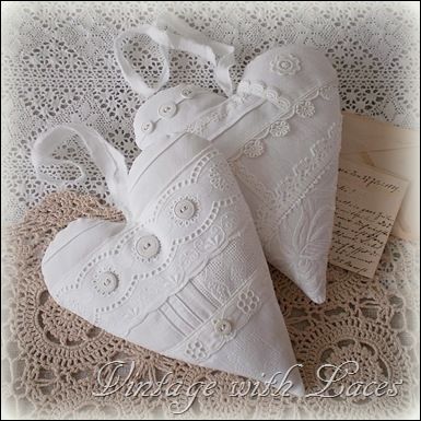 Beautiful crisp white Linen and Lace Hearts made by Julia ~ I'm so lucky to have got one of them :)