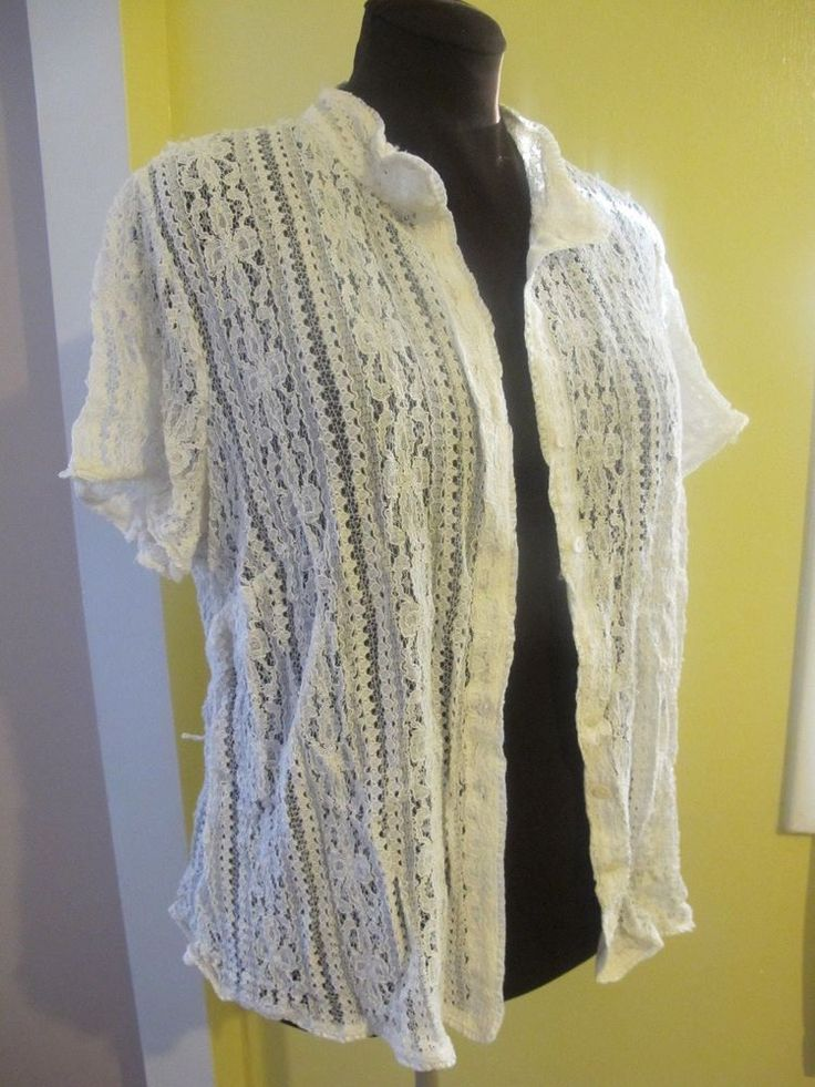 NY Collection woman Lace Knit Cardigan 2x short sleeves - used #NYCollection #ButtonDownShirt