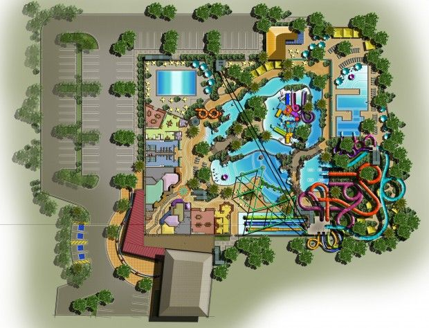 COMING SOON! Rippin' Rapids Resort and Adventure Sports will open about 3 miles from WaTiki Indoor Waterpark. The indoor facility will cover about 77,000 square feet, with a total of 93,000 square feet when outdoor facilities are included. This is a view of the main level.
