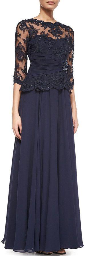 Rickie Freeman for Teri Jon 3/4-Sleeve Lace Chiffon Peplum Gown