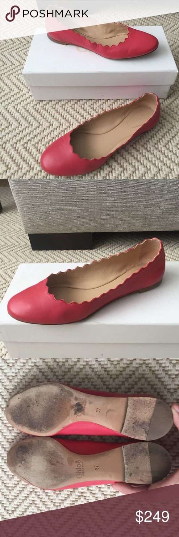 "MINT Chloe Lauren Leather Scalloped Ballet Flats 7 Chloe napa leather ballerina flat in raspberry. 3"" flat stacked heel. Round toe. Size 7. Worn once for a few hours. Uppers are like new. There are a few surface scuffs on the sole, but no wear. Come with box and cards. No dust bag. Chloe Shoes Flats & Loafers"
