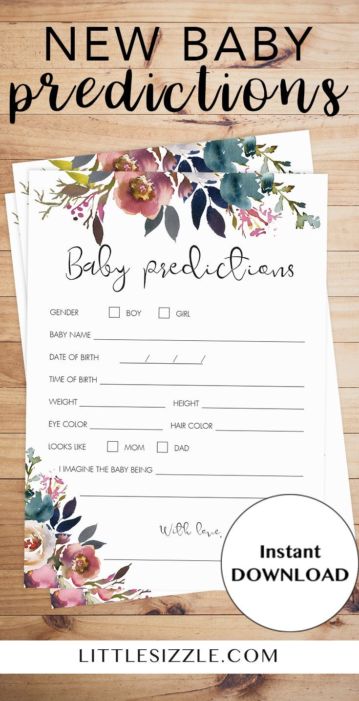 New Baby Predictions game printable by LittleSizzle. Create a meaningful keepsake for the new mom with this stunning boho themed predictions for baby game. Baby Predictions is a fun game to engage your baby shower guests during the party and makes a beautiful keepsake afterwards. This stunning watercolor floral printable is perfect for any boho themed baby shower to celebrate the arrival of a baby girl. #babyshowerideas #babyshowergames #printable #babypredictions #boho #floral #watercolor…