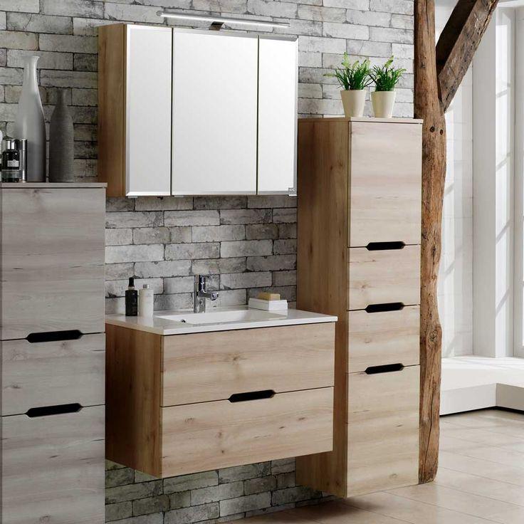 Badezimmer Kombination In Buche Hell Hängend (3 Teilig) Jetzt Bestellen  Unter: Https