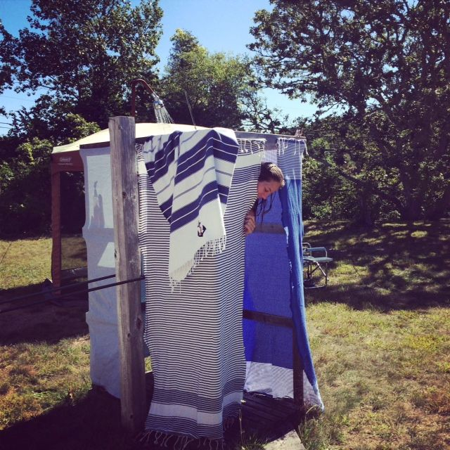 Dunes And Duchess Outdoor Shower Style With Scents And Feel Towels.