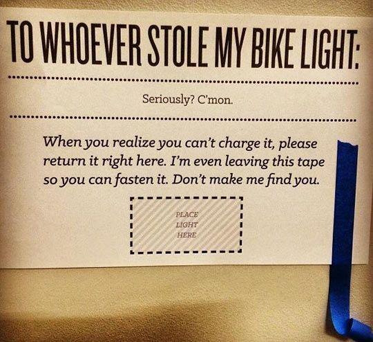 Good luck finding your bike light...