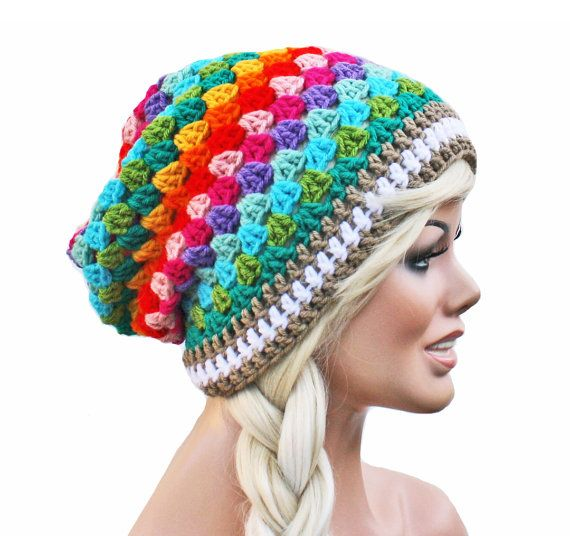 Crochet+Slouch+Rainbow+Beanie++Granny+Stitch+by+GlamourDamaged,+$26.00