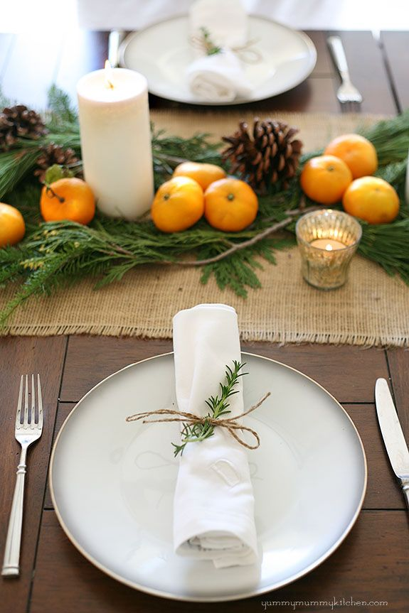 Christmas dinner table - natural, inexpensive, and pretty. #Christmas