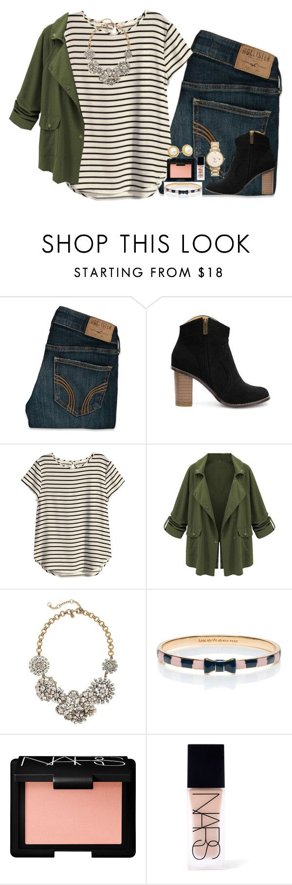 """yes or no? "" by itsaddyxoxo ❤ liked on Polyvore featuring Hollister Co., H&M, J.Crew, Kate Spade and NARS Cosmetics"