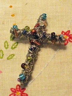 Wire and beaded crosses