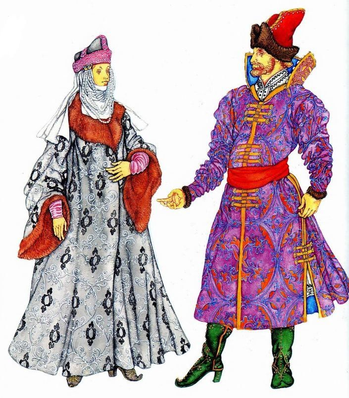 костюмы  Древней Руси 10-13 вв. На женщине: опашень, подбитый мехом, шапка с атласным околышем, жемчужные поднизи поверх покрывала. На мужчине: парчовый кафтан с воротником-козырем, сафьяновые сапоги
