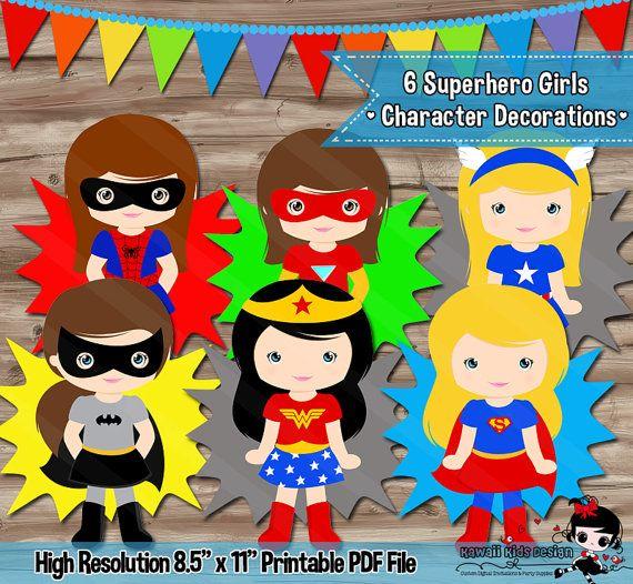 Ces personnages de filles super-héros ont été apportés afin de coordonner avec mes invitations danniversaire de super-héros. Linscription est