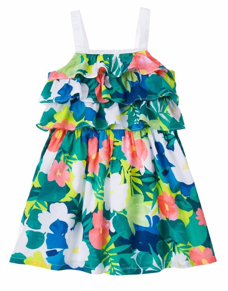 NWT Gymboree SUNNY SAFARI Tropical Floral Tiered Ruffle Sun Dress Size 2T 3T 4T #Gymboree #140154589GYM001 #CasualPartyEveryday