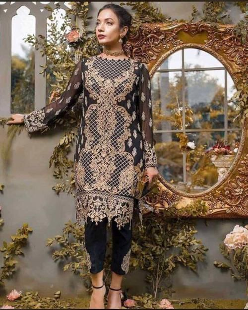e836bc8681 Gulaal Partywear Chiffon Suit Full Heavy Embroidered Master Replica Same As  Original (Replica)(Unstitched)