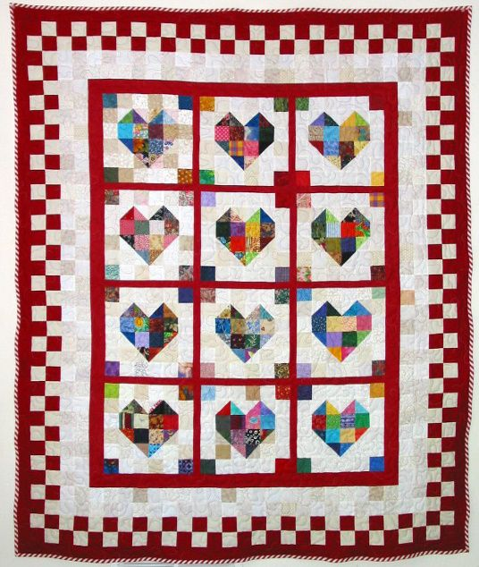 Scrappy Heart Quilt - free PDF