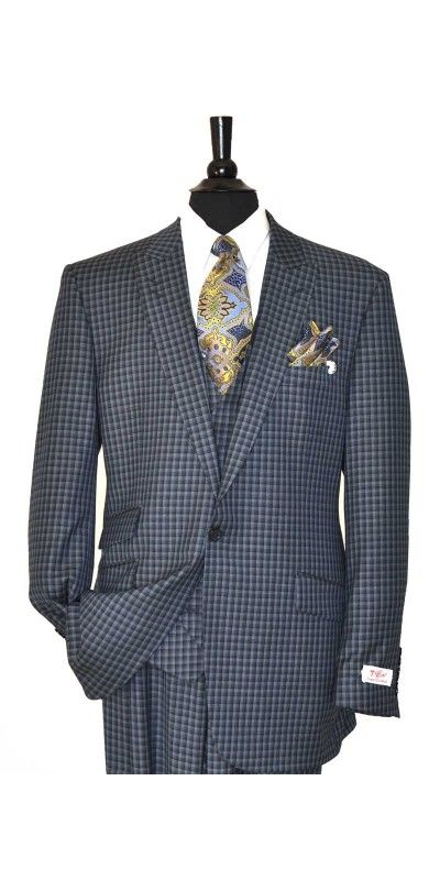 Tiglio Rosso Navy/Grey Men's Suit - MADE IN ITALY