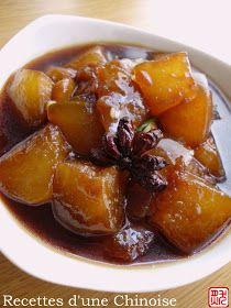 Recettes d'une Chinoise: Courge cireuse mijotée à la sauce de soja 红烧冬瓜 hóngshāo dōnggua