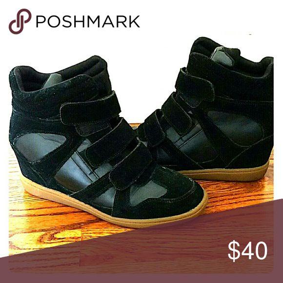 Skechers Wedge sneakers Black leather,gum sole,wedge Skechers Shoes Sneakers