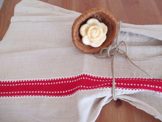 118. Flax linen towel vintage organic linen homespun hand