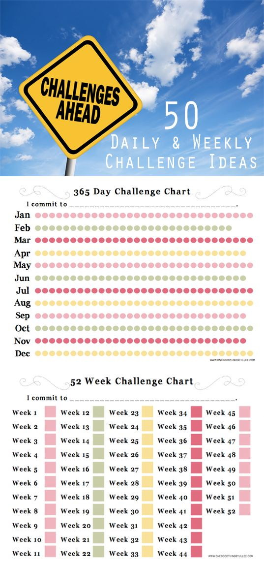 Let's give New Years Resolutions a MAKEOVER! The start of a new year is the perfect time to commit to a 365 Day (or 52 Week) Challenge. We've put together a list of ideas to inspire you to challenge yourself! We've even included some FREE PRINTABLES to help keep you on track!