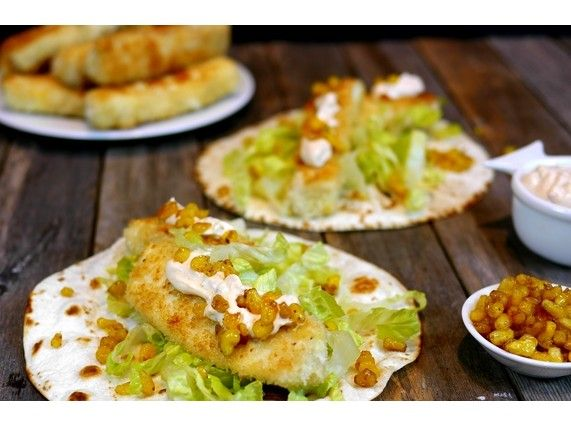 Panko-Crusted Wild Alaskan Halibut Fish Tacos with a Chipotle-Lime Mayo and Chipotle-Spiced Corn