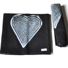 Cotton Wrap Black Heart