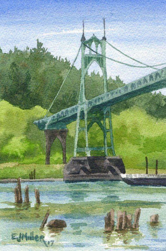 Portland Oregon Art Print St John S Bridge Painting Etsy Oregon Landscape Hawaii Art Print Bridge Painting
