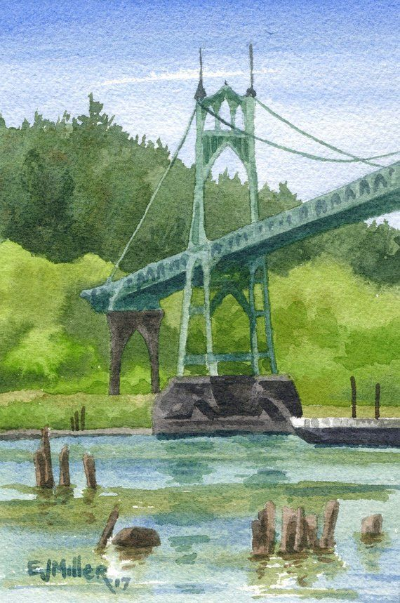 Portland Oregon Art Print St John S Bridge Painting Portland