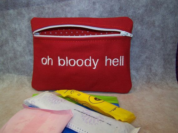Oh Bloody Hell  Tampon & Maxi Pad Holder  Zippered by WoobiesGifts, $11.95