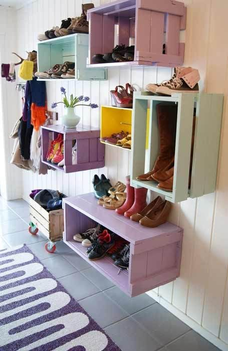 painted apple crates = hallway organization and decoration