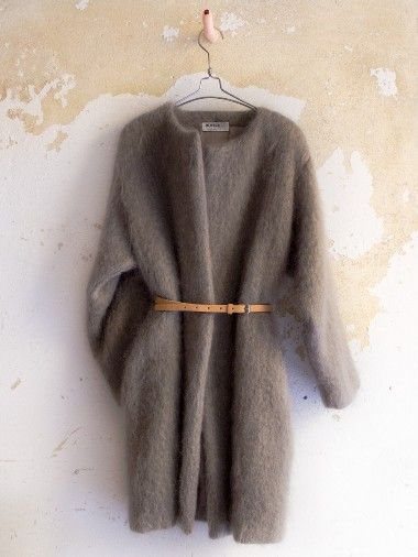 soft coat | Dutchess Mohair coat | light brown | tan belt | fuzzy warm | minimal chic