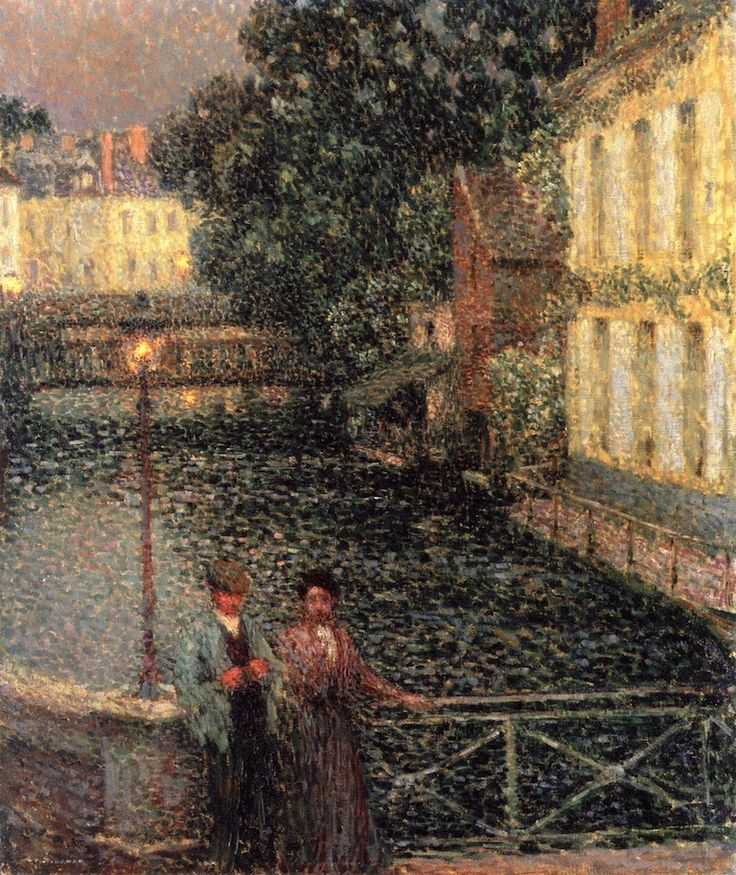 Henri Le Sidaner - A Stroll on the Canal at Quimperle