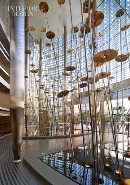 Marking the entrance to the residential lobby, Jaume Plensa's installation of stainless-steel rods and gold-plated cymbals represents the 196 countries in the world. Burj Khalifa Dubai