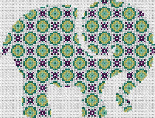 Counted Cross Stitch Pattern, Nursery Art, New Baby, Animals, Elephant, Patchwork, Paper Pattern or Complete Kit