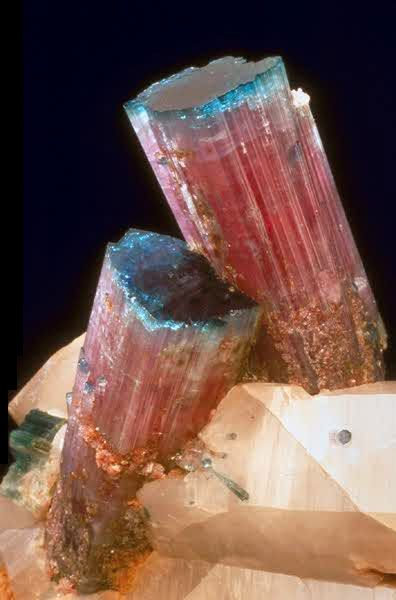 Elbaite: Precious Stones, Crystals Gemstone, Natural Colors, Gemstone Minerals, Stones Rocks Minerals, Gems Stones, Colors Pallette, Colors Gemstone, Blue Cap