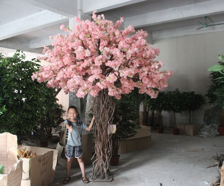 Artificial Cherry Blossom Tree Without Leaves For Hotel