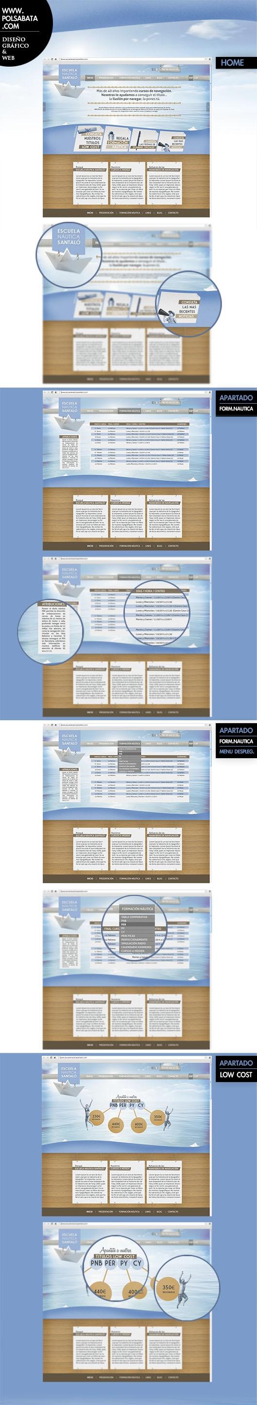 Diseño web para escuela náutica. Web design by www.polsabata.com