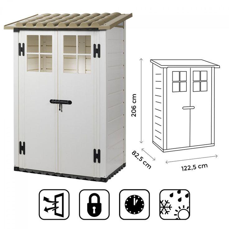 CASETTA BOX RIPOSTIGLIO CAPANNO IN PVC PER ATTREZZI 122,5X82,5X206CM TUSCANY NEW EVO 100 BEIGE