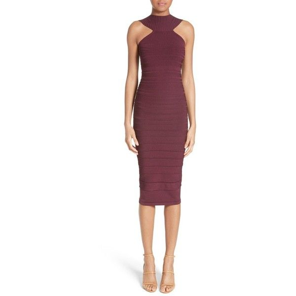 Women's Cushnie Et Ochs Knit High Neck Dress (1 440 AUD) ❤ liked on Polyvore featuring dresses, currant, purple bandage dress, cushnie et ochs, cushnie et ochs dress, pencil dresses and high neck dress